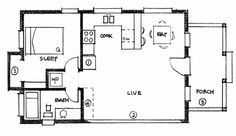 Simple One Bedroom House Plans   Design for an expandable 20 wide Cottage