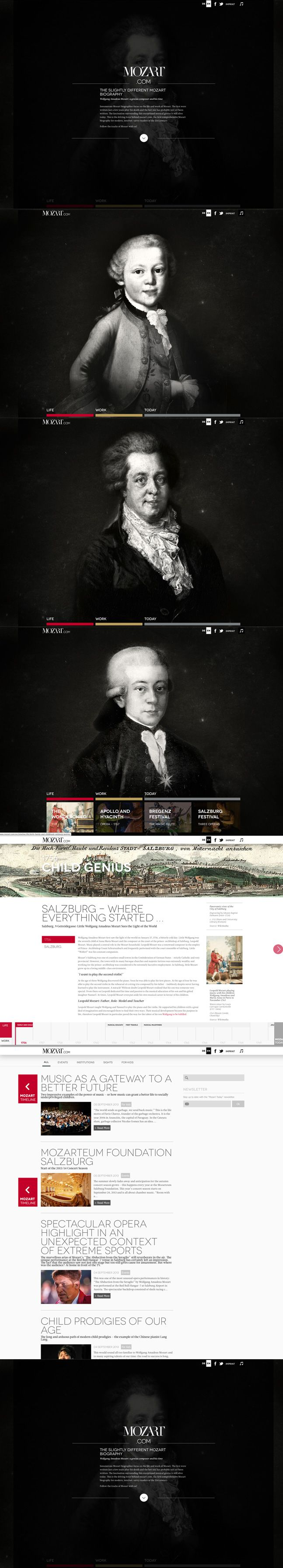 Winner 9 September 2013 mozart.com by seso media group gmbh http://www.cssdesignawards.com/css-web-design-award-winner.php?id=22468 The slightly different Mozart biography. #Responsive #Typographic #Scroll
