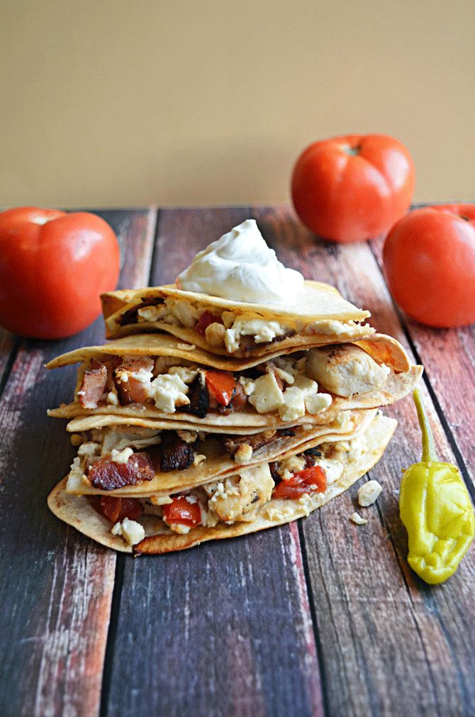 Atenian Chicken Quesadillas with Greek Marinated Chicken, Bacon, Feta, and Tomatoes