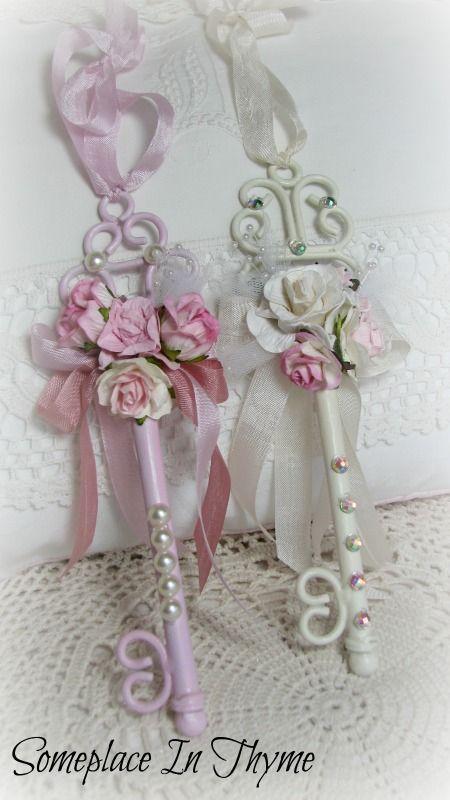 #ShabbyChic #Keys #Roses&Ribbon