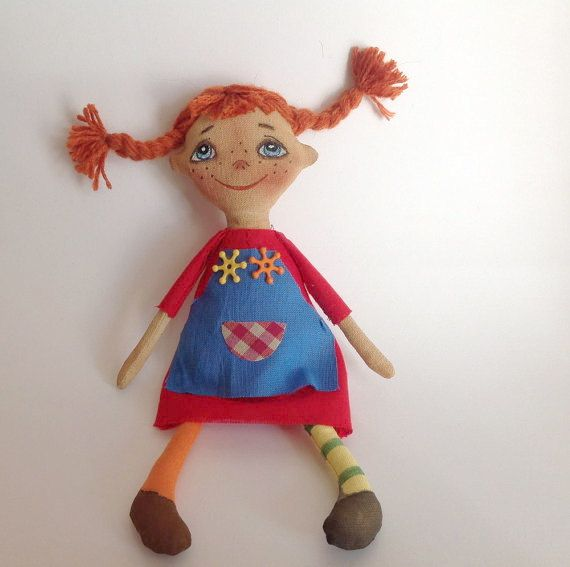 Cloth art doll Pippi Longstocking Redhead doll Collecting OOAK doll Ginger Rag…