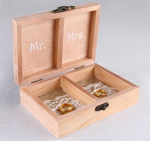 This Mr. & Mrs. Wooden Ring Box Will Certainly Add A