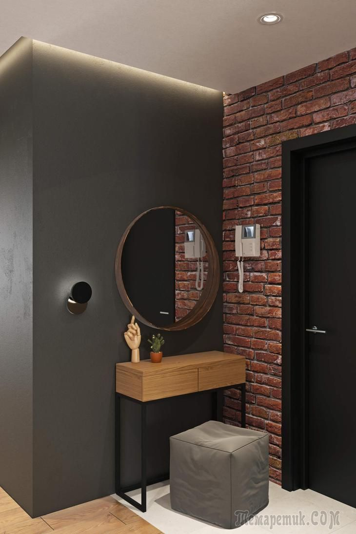 Great ideas, bricks and gray color in front of the bathroom