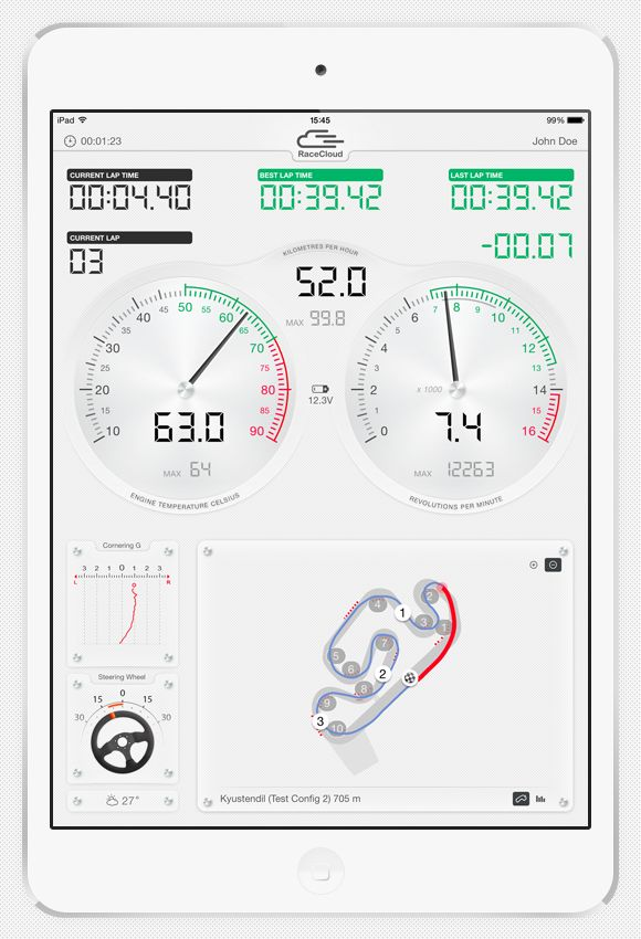 Pinpoint your driving mistakes and loss of speed and time as soon as they appear. Great for savvy mechanics and racing engineers who participate actively in their drivers' development. Lap times Analogue gauges for RPM and engine temperature Lateral G-force in corners Precise racing line Exact kart geo positioning on track Sector markings on track Steering angle - over or understeering Lateral G-force