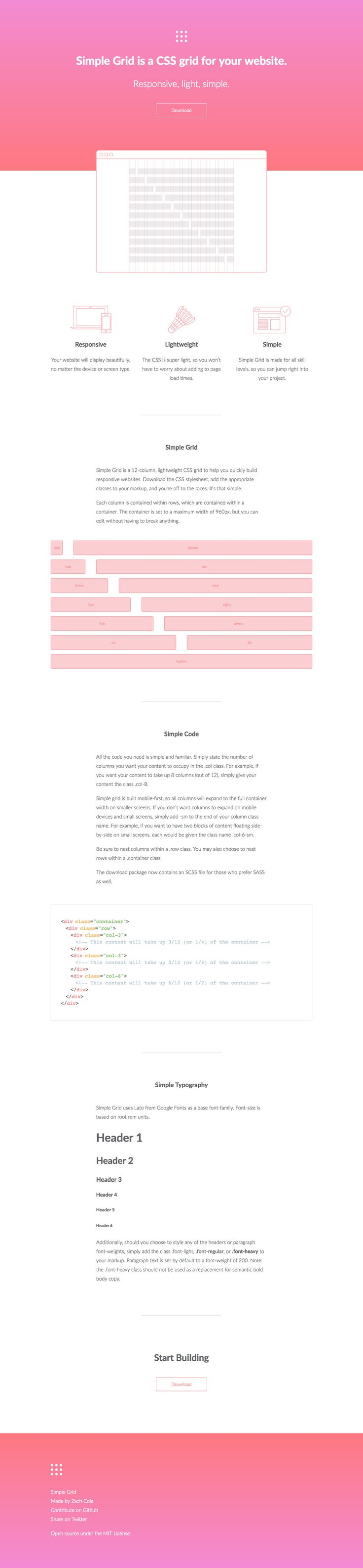 Lovely minimal One Pager promoting the 'Simple Grid' CSS Framework by Zach Cole. What a great choice using a shuttlecock illustration to represent lightweight in the feature section.