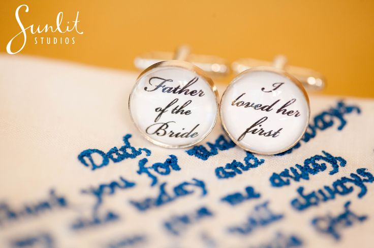 Wedding Gift idea for the Father of the Bride. Cufflinks and embroidered hankercheif. Photography by Sunlit Studios