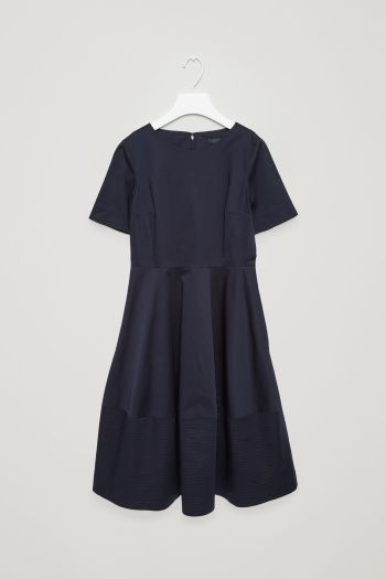 COS image 2 of Dress with stitched detailed hem in Navy