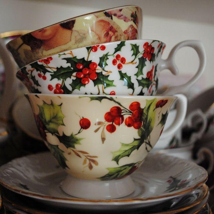 Love beautiful festive teacups. Perfect for a holiday tea.