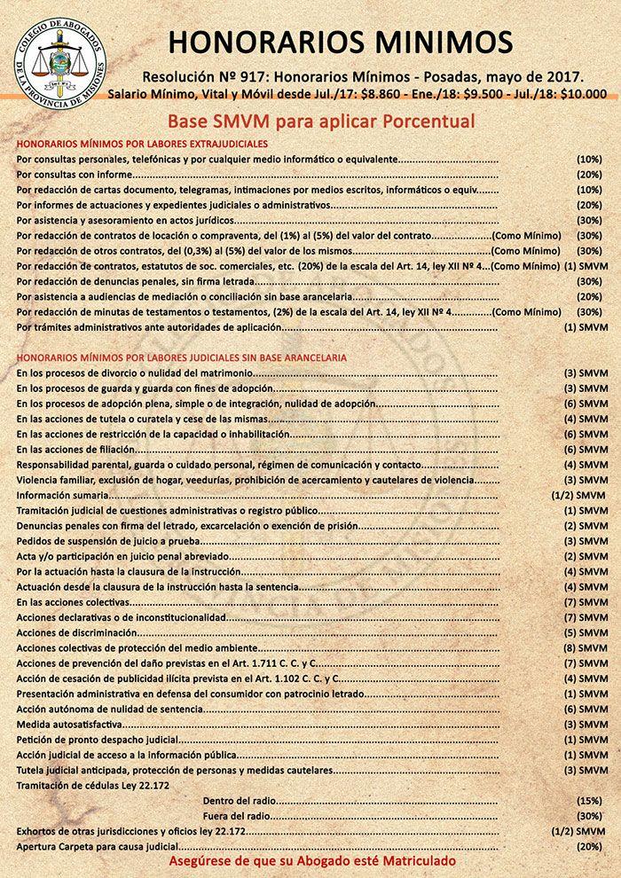 Ley HONORARIOS DE ABOGADOS Y PROCURADORES de la PROVINCIA DE MISIONES  LEY XII – Nº 4  (Antes Ley 607) SECCIÓN I TÍTULO ÚNICO  DE LAS NORMAS GENERALES SOBRE HONORARIOS DE ABOGADOS Y PROCURADORES ARTÍCULO 1.- En todo el Territorio de la Provincia de Misiones, excluido el fuero federal, los h...