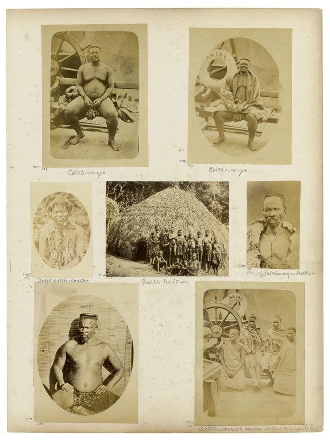 G. T. Ferneyhough (attr.), Crewes & Van Laun (attr.), H. F. Gros (attr.), and unidentified photographers. 'Album page with photographs of Cetshwayo and his family, Chief Sekhukhune, and unidentified persons' South Africa, last third of the nineteenth century