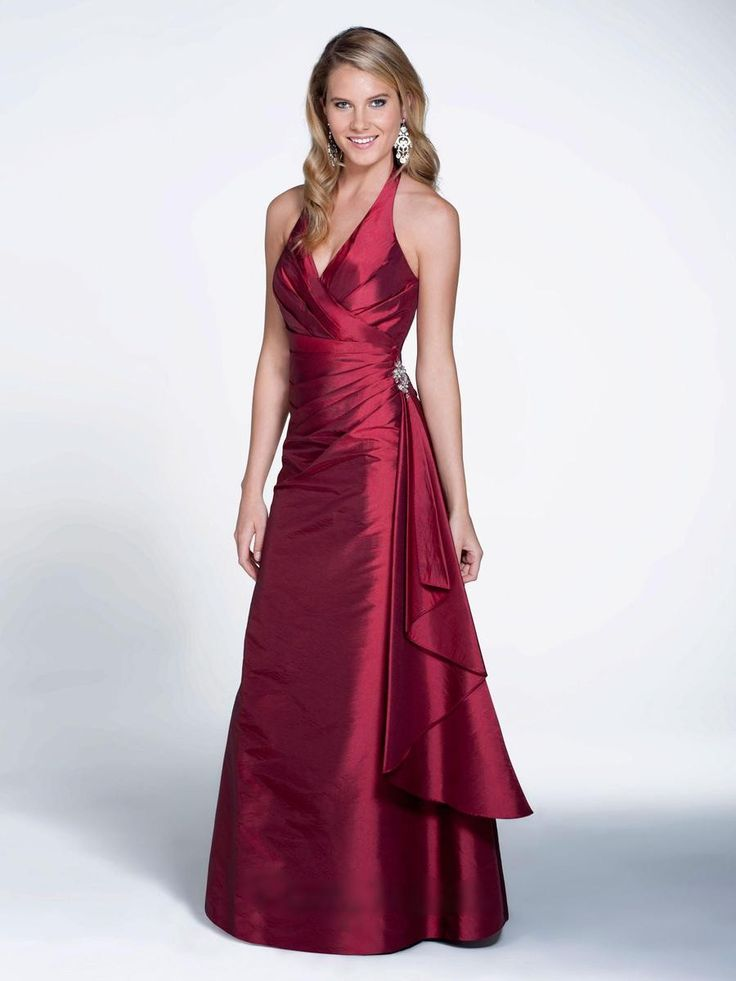 Floor-length Taffeta Halter V-neck Bridesmaid Dress