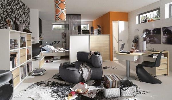 teenage bedroom furniture ideas black white orange accents open shelves modern chair
