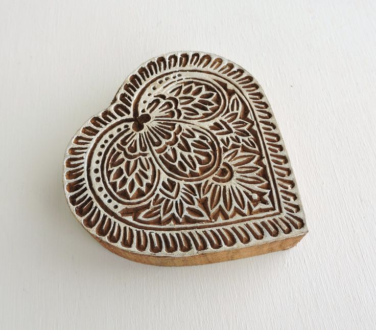 Heart stamp hand carved indian printing block flower
