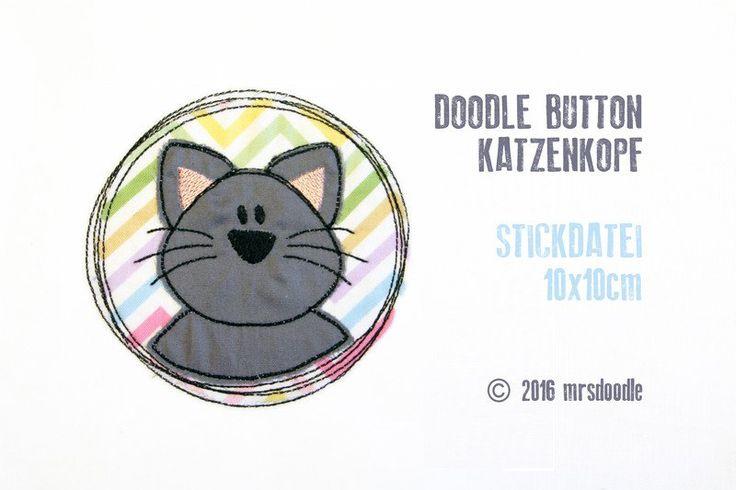 Stickmuster - ★Stickdatei Katzenkopf★ Doodle-Button 10x10cm - ein Designerstück…