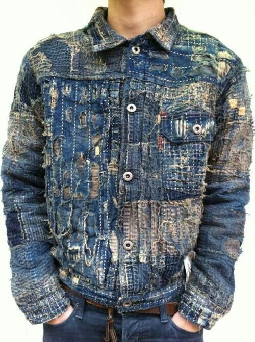 distressed denim men's jacket