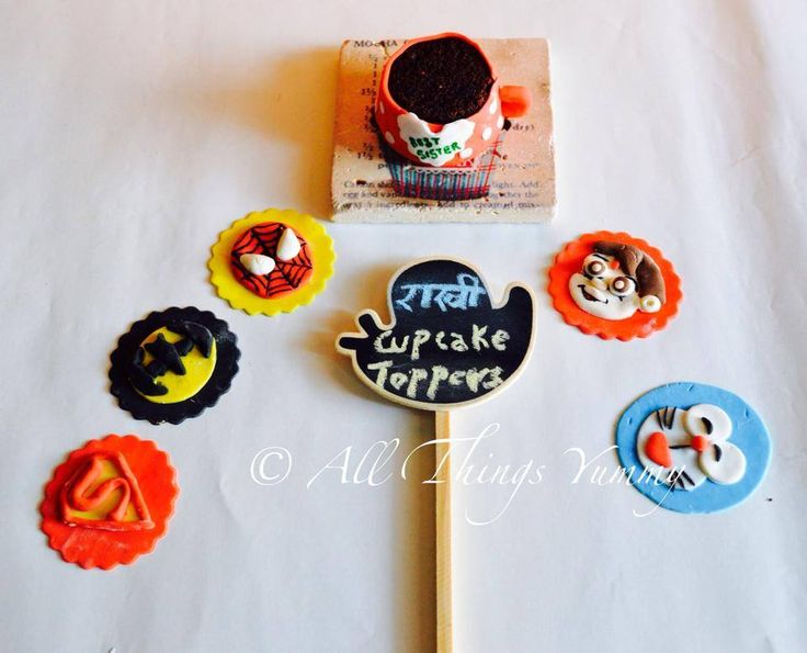 Rakhi cupcake toppers:  Category 1: For the superheroes  Category 2: For the little ones  #spiderman #superman #batman #doremon #chotabheem #cupcakes #atyummy #cupcakemug
