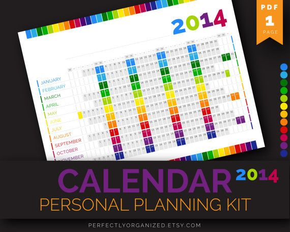 2014 Calendar, Year Calendar, Personal Planning Kit // Colorful, Printable PDF, Planner Organizer Binder DIY // Household PDF Printables