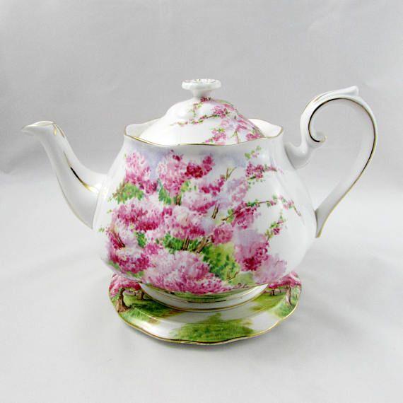 """Royal Albert """"Blossom Time"""" Teapot with Trivet, Large Tea Pot, Vintage Royal Albert, Bone China Teapot"""