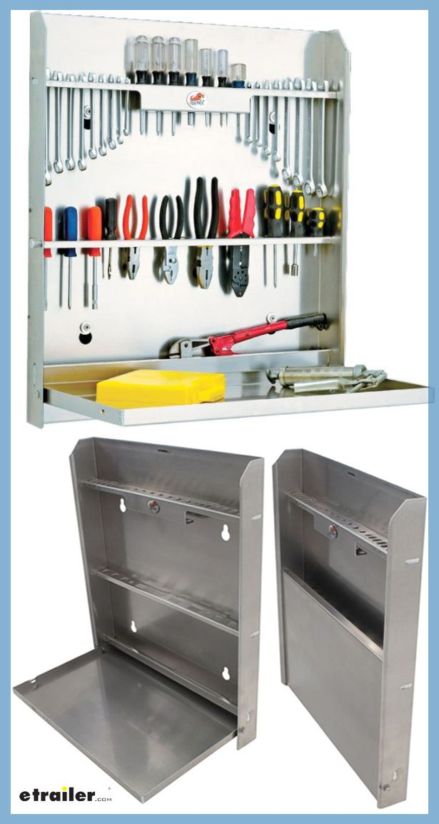 You can mount this sturdy cabinet in your trailer, your shop, or your garage; it keeps your tools organized. The top two shelves, right here, have multiple slots for screwdrivers, wrenches and other small tools. You can also have a bottom shelf for larger tools and the folding tray, which will provide a workspace.