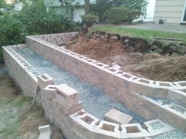 Cheap retaining wall ideas what caused movement in new for Cheap garden wall ideas