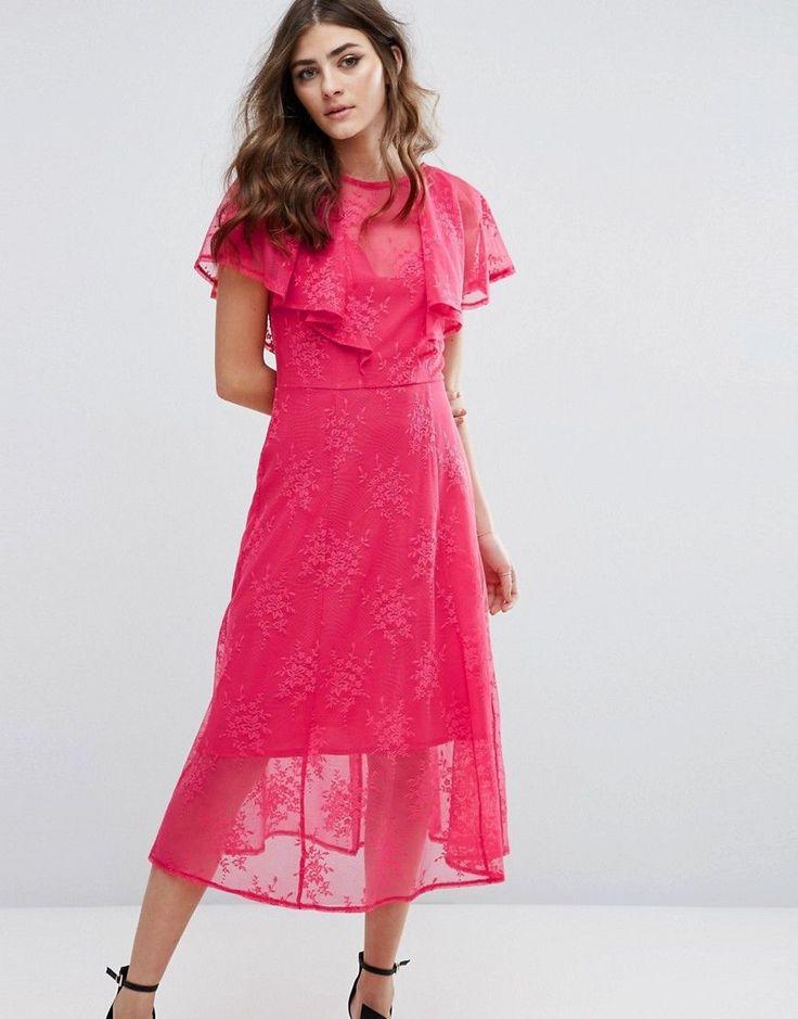Miss Selfridge Ruffle Lace Overlay Midi Dress - Pink