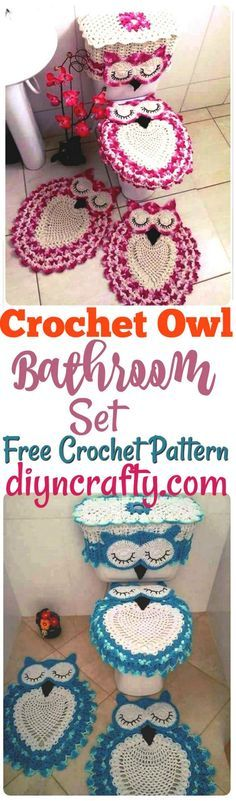 this entire #crochet #owl #bathroom #set and you will just love to crochet them with the help of provided free crochet pattern!