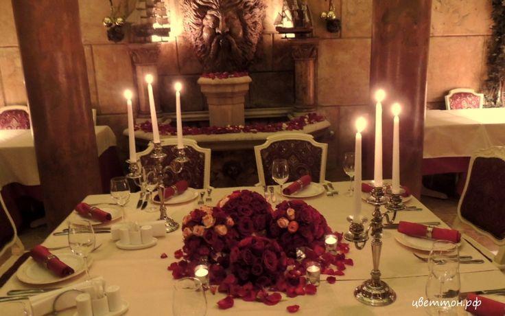 """Камерная, очень уютная свадьба в ресторане Порту Атриум. Розовые шары и свечи. Студия флористики и декора """"Цветтон"""""""