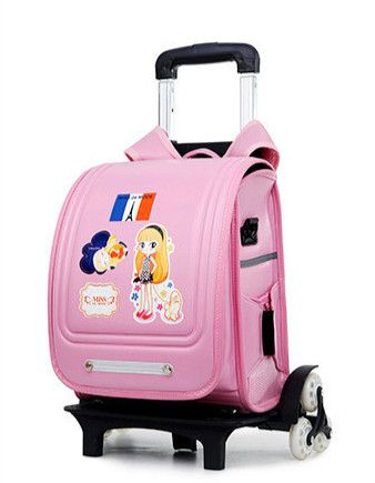 Triple-wheel Trolley Backpack For Children Fashion Character Pattern Rolling School Bag Detachable Backpack Leather For Girls