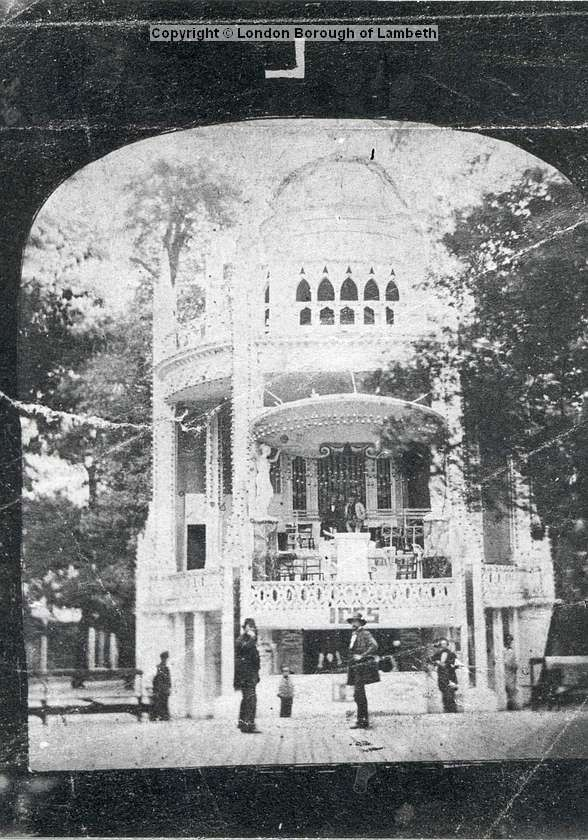 Date : c.1850 The Orchestra Stand at Vauxhall Gardens in the centre of the grove. The organ seen immediately below the roof with the orchestra seats below it and the supper-boxes on the ground floor.