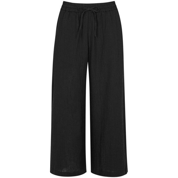 Womens Culottes EILEEN FISHER Black Organic Cotton Seersucker Culottes ($235) ❤ liked on Polyvore featuring pants, eileen fisher, organic cotton pants, eileen fisher pants, seersucker pants and pull on pants