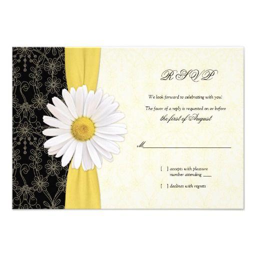 Daisy Black Yellow, Ivory Wedding Reply Card Custom Invitations