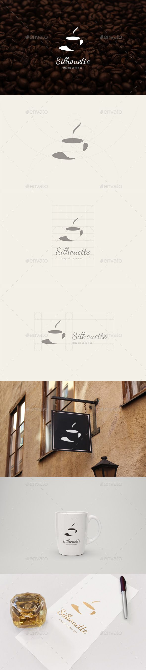 Silhouette Organic Coffee Bar Logo,bar, branding, cafe, coffee, coffeeshop, logo, logodesign, modern, refined, signage, silhouette, simple