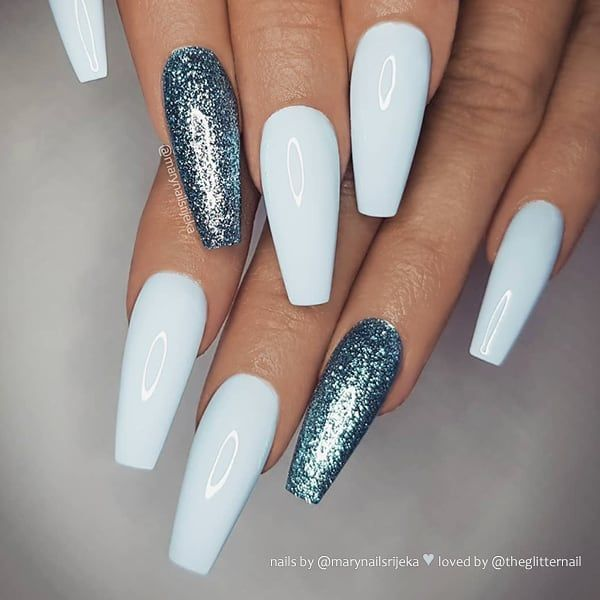 Ice Blue With Glitter On Long Coffin Nails Nail Artis Blue Glitter Nails Gorgeous Nails Cute Summer Nails