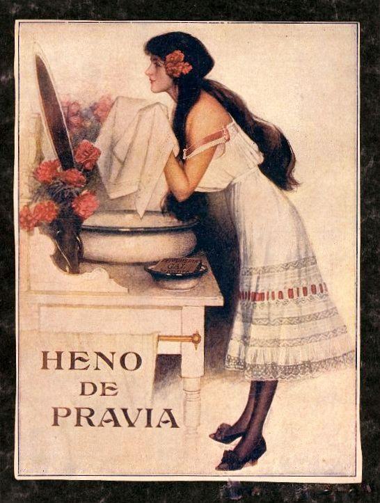 Anuncio de Jabón Heno de Pravia. La fábrica de perfumes, colonias y jabones Gal fue fundada por el guipuzcoano natural de Irún Salvador Echeandía Gal en 1898.