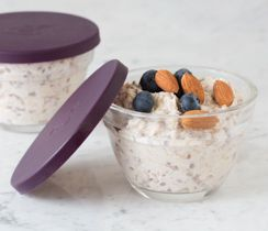 Make this portable recipe tonight for an easy, on-the-go morning. Serve warm or cold. Will keep up to three days in your fridge. Perfectly balance your plate: Top with ½ C (125 ml) 2% plain Greek yogurt, 2 Tbsp (30 ml) nuts and 1 C (250 ml) mixed berries.