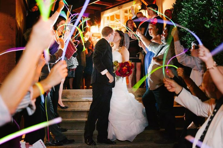 Looking for a memorable wedding sendoff?! Glow necklaces are virtually accepted by all venues and can be enjoyed for many hours! Purchase your wedding exit glow necklaces with FREE shipping available! #weddingsendoff #weddingexit #glownecklaces #weddingideas #brideandgroom #glowexit #weddings #partyfavors