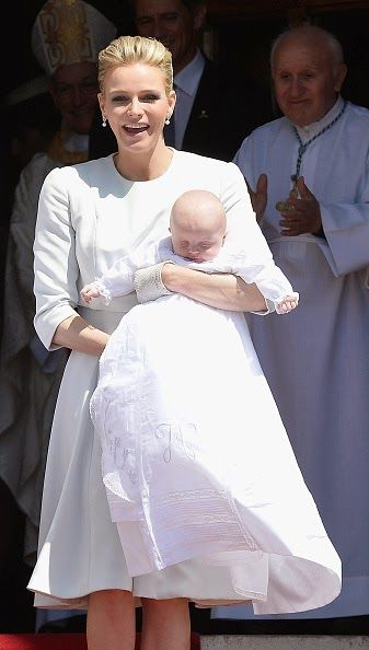 Princess Charlene of Monaco and Prince Jacques of Monaco attend The Baptism of their Princely Children at The Monaco Cathedral on May 10, 2015 in Monaco, Monaco.