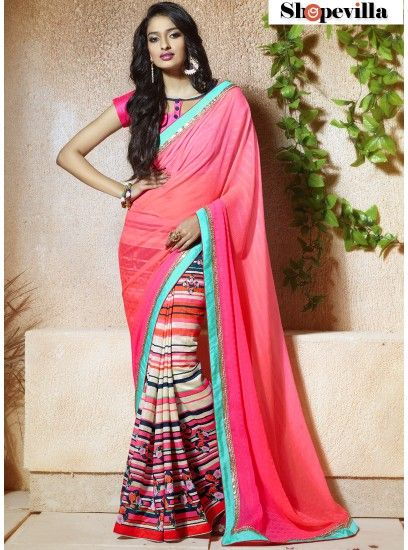 Party Wear Pink Classic Printed Saree-602