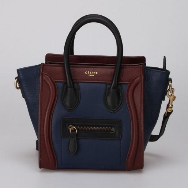 Celine Luggage Nano Black Blue Brown Bag