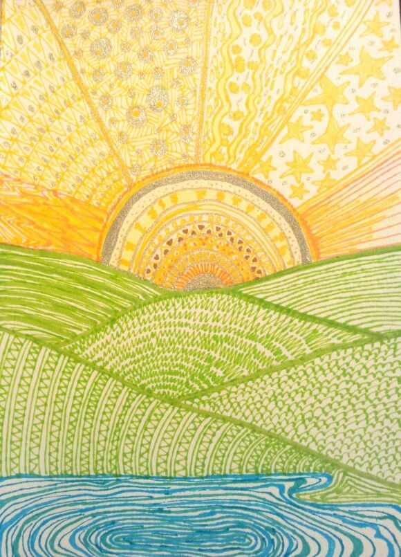 Zentangle sun landscape by Die Daisy Dingen