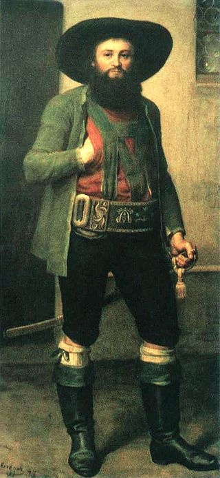 Andreas Hofer, wearing the typical, broad-brimmed flat hat of the South Tyrolean type (posthumous portrait, mid-19th century)
