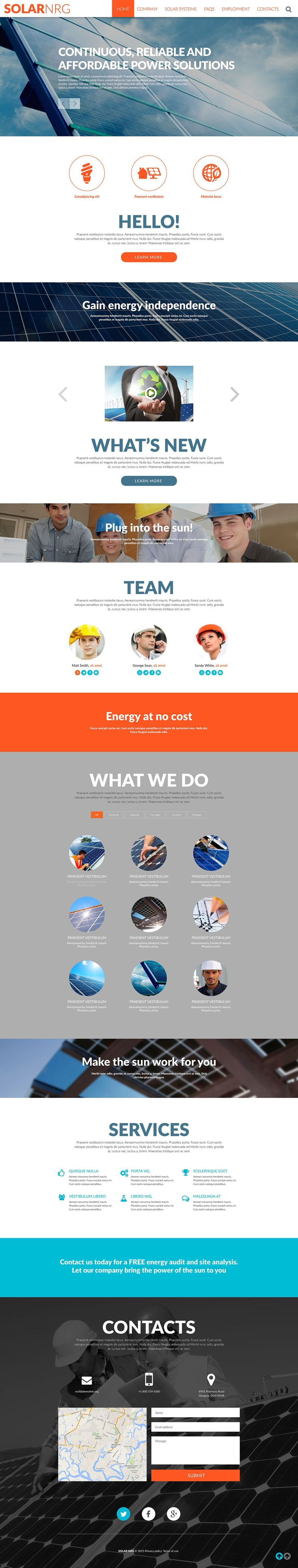 This Solar Energy Company Website Template boasts a user friendly design for environmental and industrial companies. This responsive theme is easy to navigate for users of both desktops and mobile ...