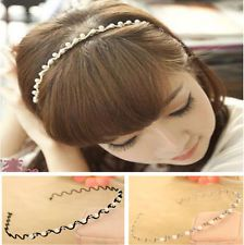 New Women Girl Bridal Pearls Crystal Waves Headband Rhinestone Wedding Hair Band