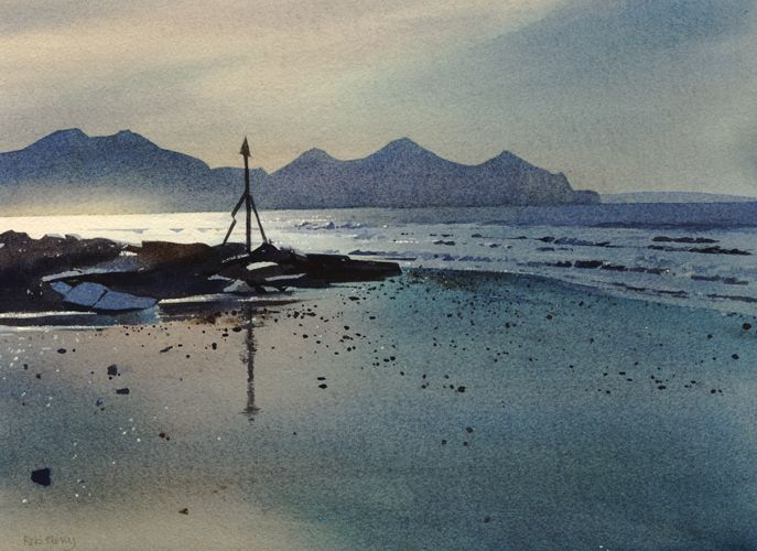 Yr Eifl from Dinas Dinlle, an original watercolour painting by Rob Piercy