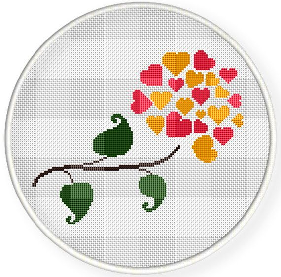 INSTANT DOWNLOAD,Free shippingCounted Cross stitch pattern,Cross-Stitch PDF,hearts flower,valentine's day, zxxc0590