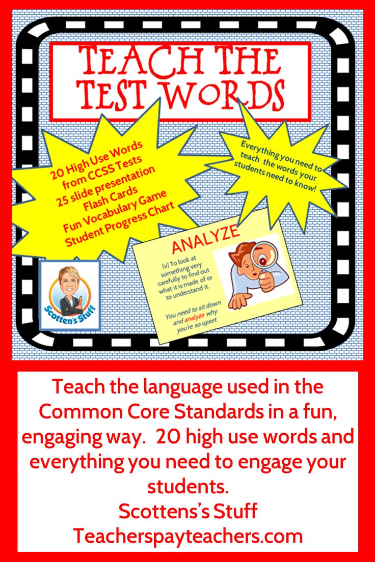 Teach words used in the Common Core standards. Fun presentation and vocab game using 20 high-use words. $$