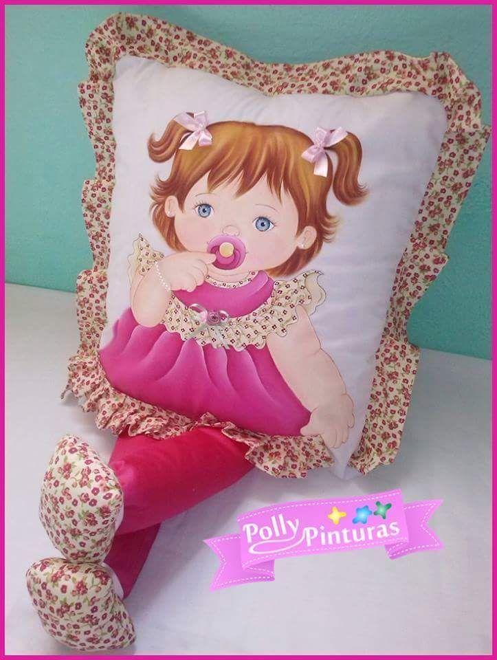 Almofada com pintura de bonecas