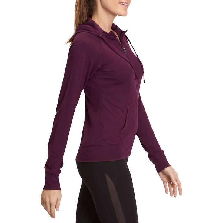 Veste zippée capuche fitness Active femme bordeaux