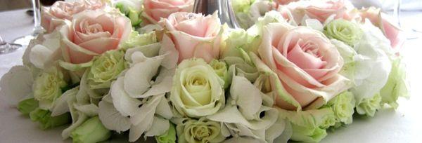 Hochzeitstischdeko Pastellfarben -rosa und grün