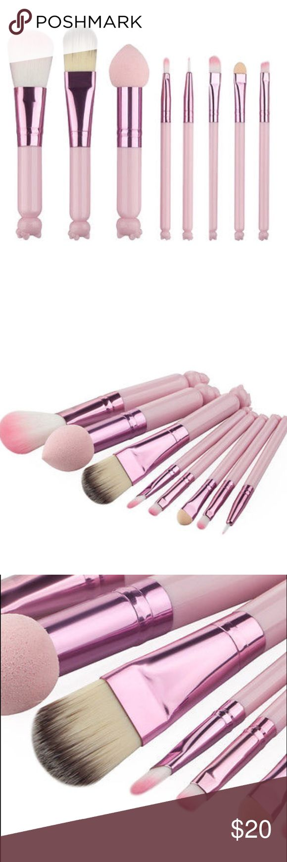 😻NWT Hello kitty 8 pcs makeup brushes set!!! Hot n so cute ! Low stock !! hello kitty  Makeup Brushes & Tools
